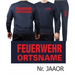 Sweat-Jogging suit navy, FEUERWEHR place-name red
