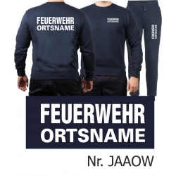 Sweat-Jogging suit navy, FEUERWEHR place-name white