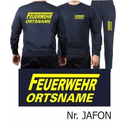 Sweat-Jogging suit navy, FEUERWEHR place-name with long...