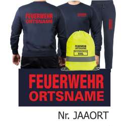 Sweat-Jogging suit navy, FEUERWEHR place-name in red +...