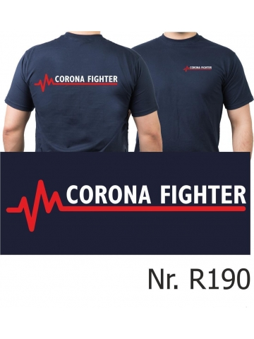 T-Shirt navy, CORONA FIGHTER mit roter EKG-Linie