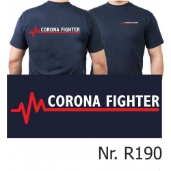 T-Shirt navy, CORONA FIGHTER with red EKG-line
