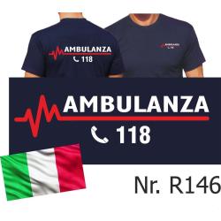 T-Shirt azul marino (Maglietta blu scuro), AMBULANZA 118...