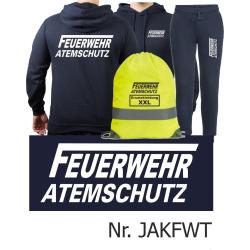 Hoodie-Jogging suit navy, FEUERWEHR ATEMSCHUTZ long...