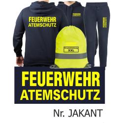 Hoodie-Jogginganzug navy, FEUERWEHR ATEMSCHUTZ neongelb...