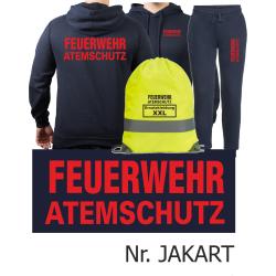 Hoodie-Jogging suit navy, FEUERWEHR ATEMSCHUTZ in red...