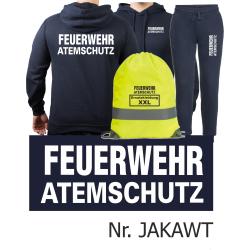 Hoodie-Jogginganzug navy, FEUERWEHR ATEMSCHUTZ in...
