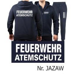 Hooded jacket-Jogging suit navy, FEUERWEHR ATEMSCHUTZ white