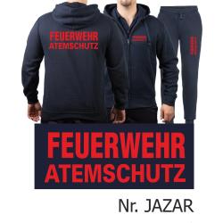 Hooded jacket-Jogging suit navy, FEUERWEHR ATEMSCHUTZ red