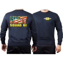 Sweat navy, New York City Fire Dept. Squad Co. 61 color