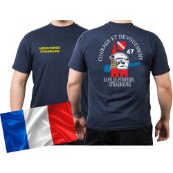 T-Shirt navy, Sapeurs Pompiers Strasbourg - Courage et...