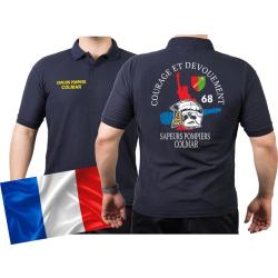 Polo blu navy, Sapeurs Pompiers Colmar - Courage Et...