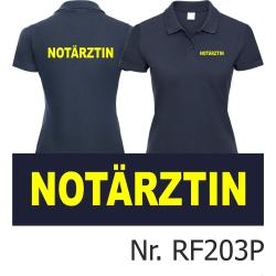 Women Polo navy, emergency doctor, font: neonyellow