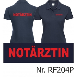 Women Polo navy, emergency doctor, font: red