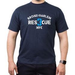 T-Shirt navy, RES 3 CUE Bronx - Harlem NYC
