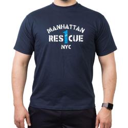 T-Shirt navy, RES 1 CUE (1915) Manhattan NYC