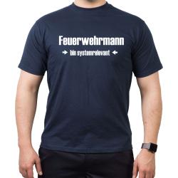 T-Shirt blu navy, Feuerwehrmann > bnel systemrelevant