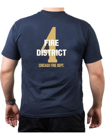 CHICAGO FIRE Dept. Fire District 4, gold, old emblem, navy T-Shirt