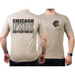 CHICAGO FIRE Dept. old emblem on front, sand T-Shirt
