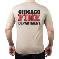 CHICAGO FIRE Dept. black/red, old emblem, sand T-Shirt