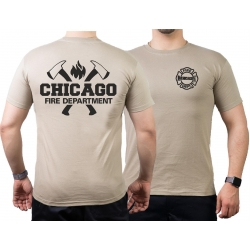 CHICAGO FIRE Dept. axes and flames black, sand T-Shirt