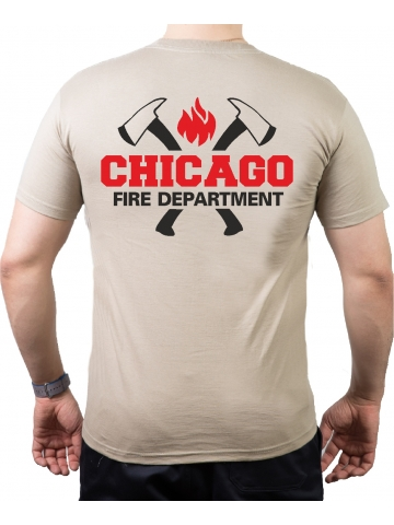 CHICAGO FIRE Dept. axes and flames, black/red, sand T-Shirt