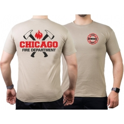 CHICAGO FIRE Dept. axes and flames, negro/red, sand T-Shirt