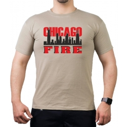CHICAGO FIRE Dept. Skyline on front, red/black, sand T-Shirt