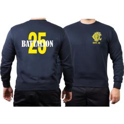 CHICAGO FIRE Dept. Battalion 25, yellow, old emblem, navy...