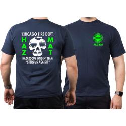 CHICAGO FIRE Dept. HAZ MAT Incident Team green, navy T-Shirt