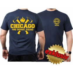CHICAGO FIRE Dept. axes and flames SQUAD in yellow, navy...