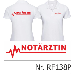 Women Polo white, emergency doctor with EKG-line, red