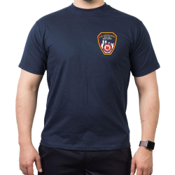 New York City Fire Dept. Emblem on front, navy T-Shirt, L