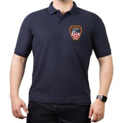 Polo azul marino, New York City Fire Dept. Emblem on front