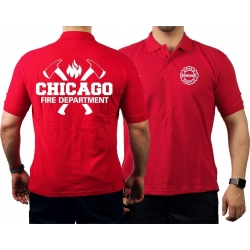 CHICAGO FIRE Dept. axes and flames, red Polo