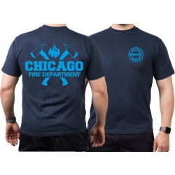 CHICAGO FIRE Dept. axes and flames blue, navy T-Shirt