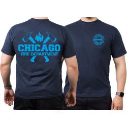 CHICAGO FIRE Dept. axes and flames blue, azul marino T-Shirt