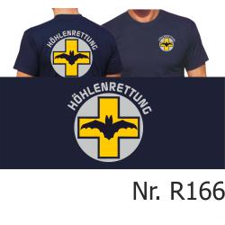 T-Shirt navy, HÖHLENRETTUNG gelbes Kr euz und...