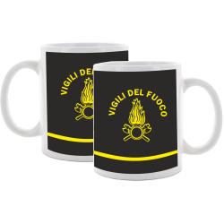 Tasse (Tazza) Vigili del Fuoco, nero con stemma giallo