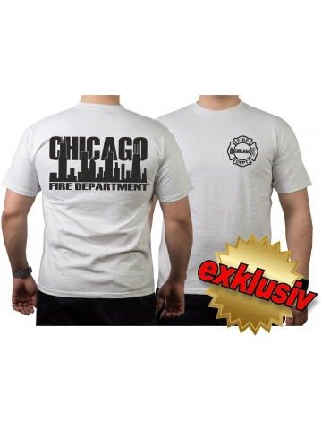 T Shirt Ash Chicago Fire Dept Navy Schrift Mit Skyline 26 00