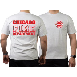 CHICAGO FIRE Dept. rote Schrift, ash T-Shirt, L