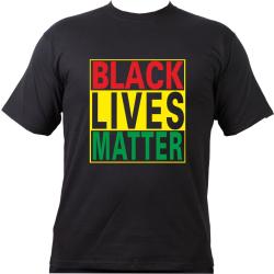 T-Shirt negro, negro LIVES MATTER red-yellow-green