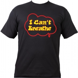 T-Shirt negro, I Cant Breathe (red - neon yellow)