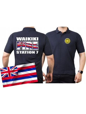 Poloshirt navy, WAIKIKI  FIRE - Station 7, Honolulu.(Hawaii) L