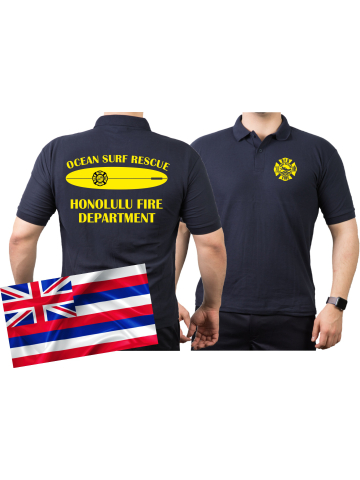 Poloshirt navy, SURF RESCUE, Honolulu.(Hawaii) XXL