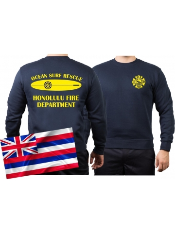 Sweatshirt (navy) SURF RESCUE, Honolulu (Hawaii)
