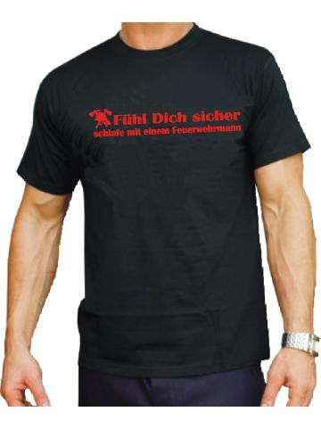 """T-Shirt black, """"Fühl Dich sicher, schlafe mit einem Feuerwehrmann"""" in rot XS"""