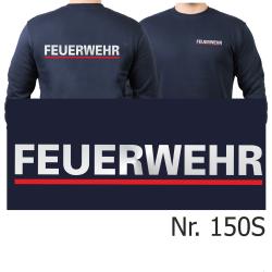 Sweat navy, FEUERWEHR silber mit rotem Streifen (XS-3XL)