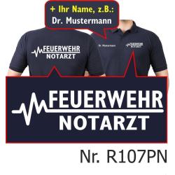 Polo blu navy, FEUERWEHR - medico di emergenza con...