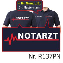 Polo blu navy, medico di emergenza con rosso EKG-linea e...